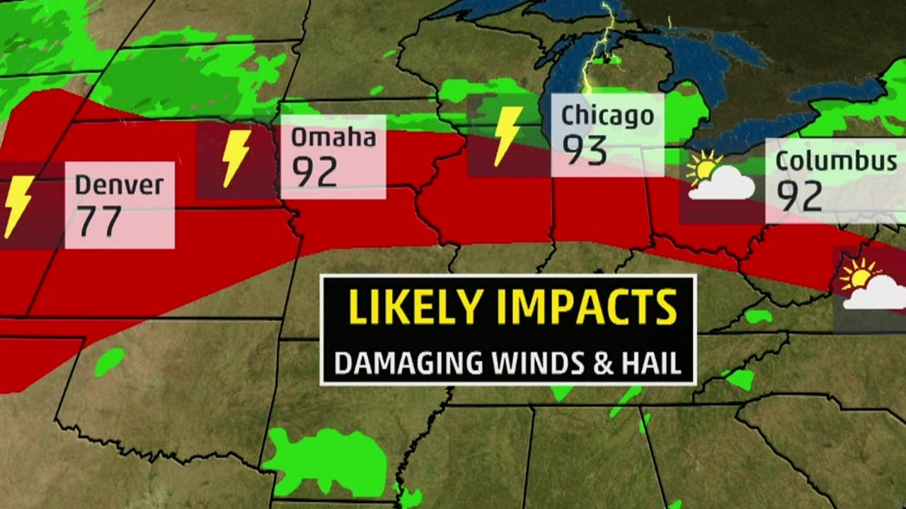 Thunderstorms will Target Areas from Plains to the Northeast