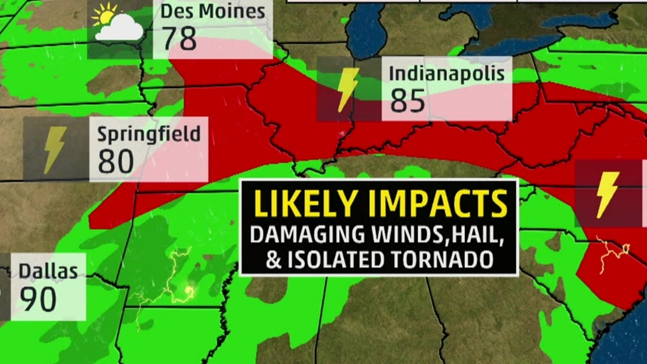 Damaging Winds and Large Hail are the Main Threats as Storms Move East