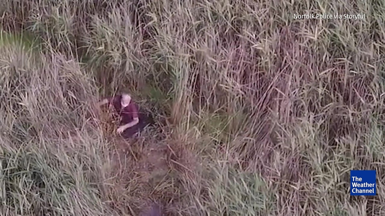 Police find missing elderly man stuck in mud with drone