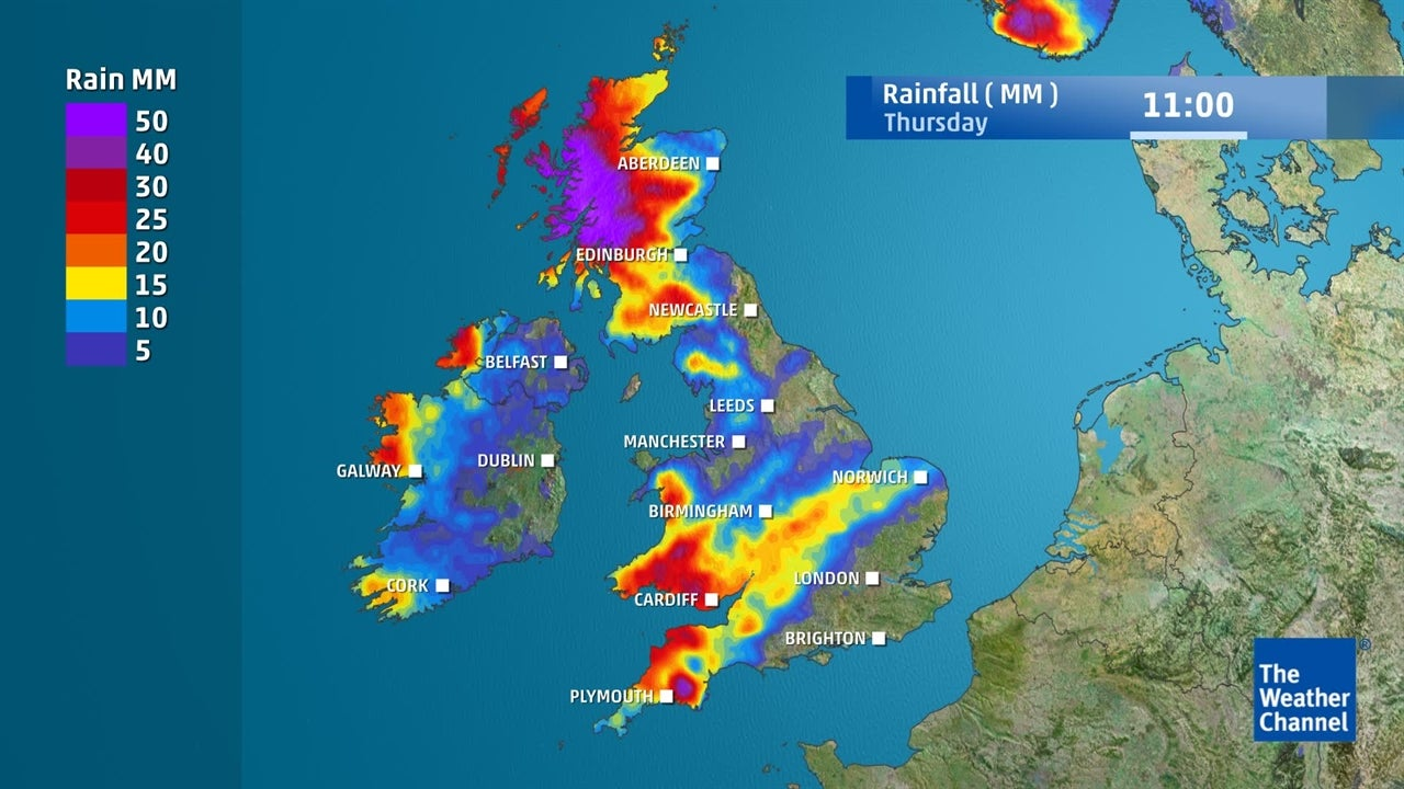 UK weather: Expected rainfall in coming days