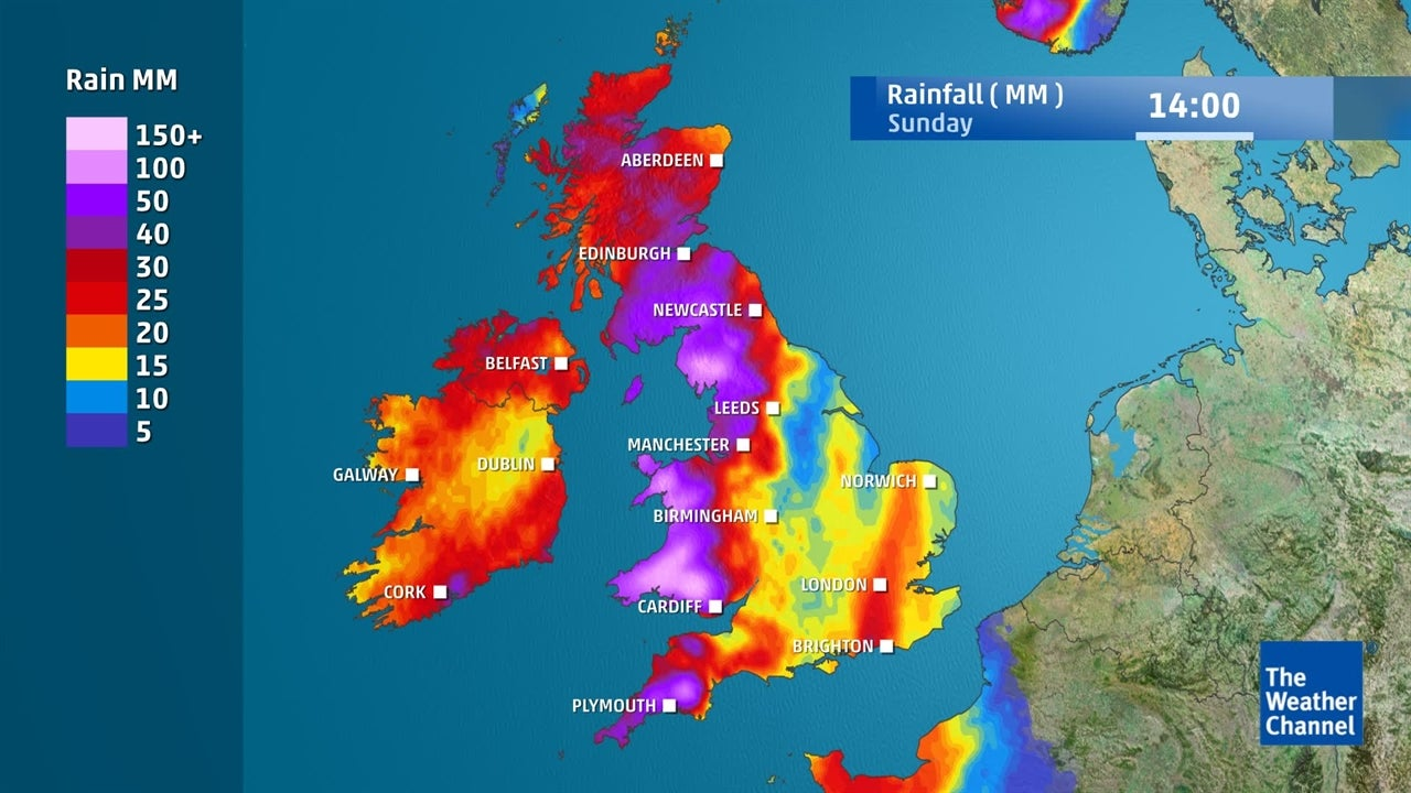 UK weather: Expected weekend rainfall - October 12-15