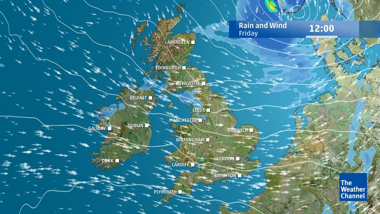 UK weather: Expected rain and wind speeds