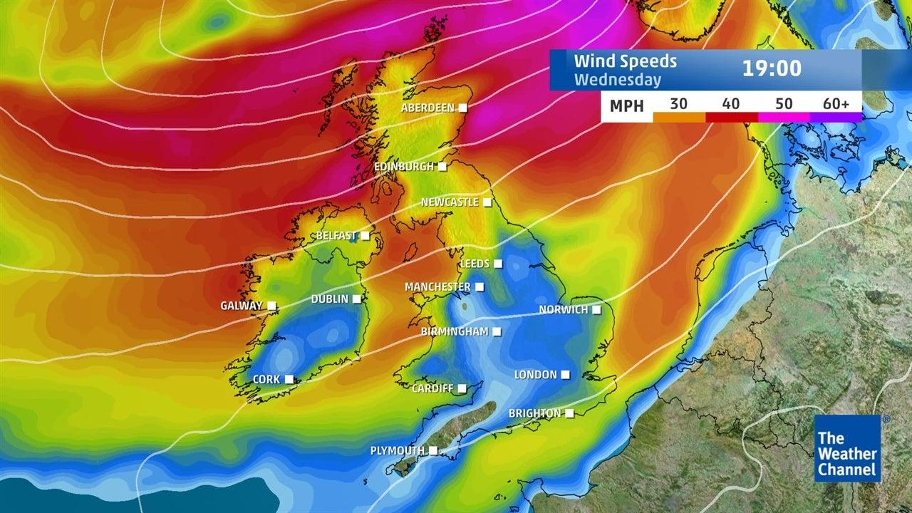 Storm Ali: Predicted wind speeds