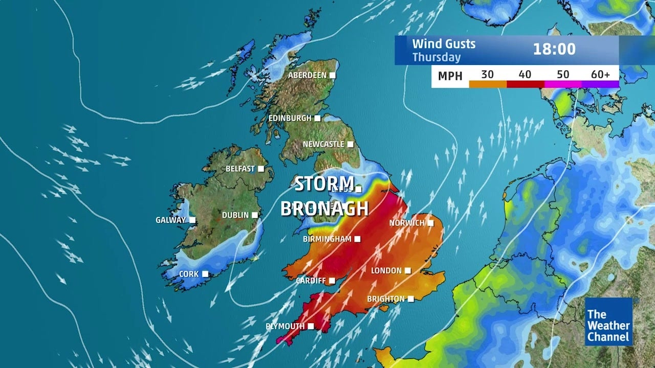 Storm Bronagh: Winds moving towards North Sea