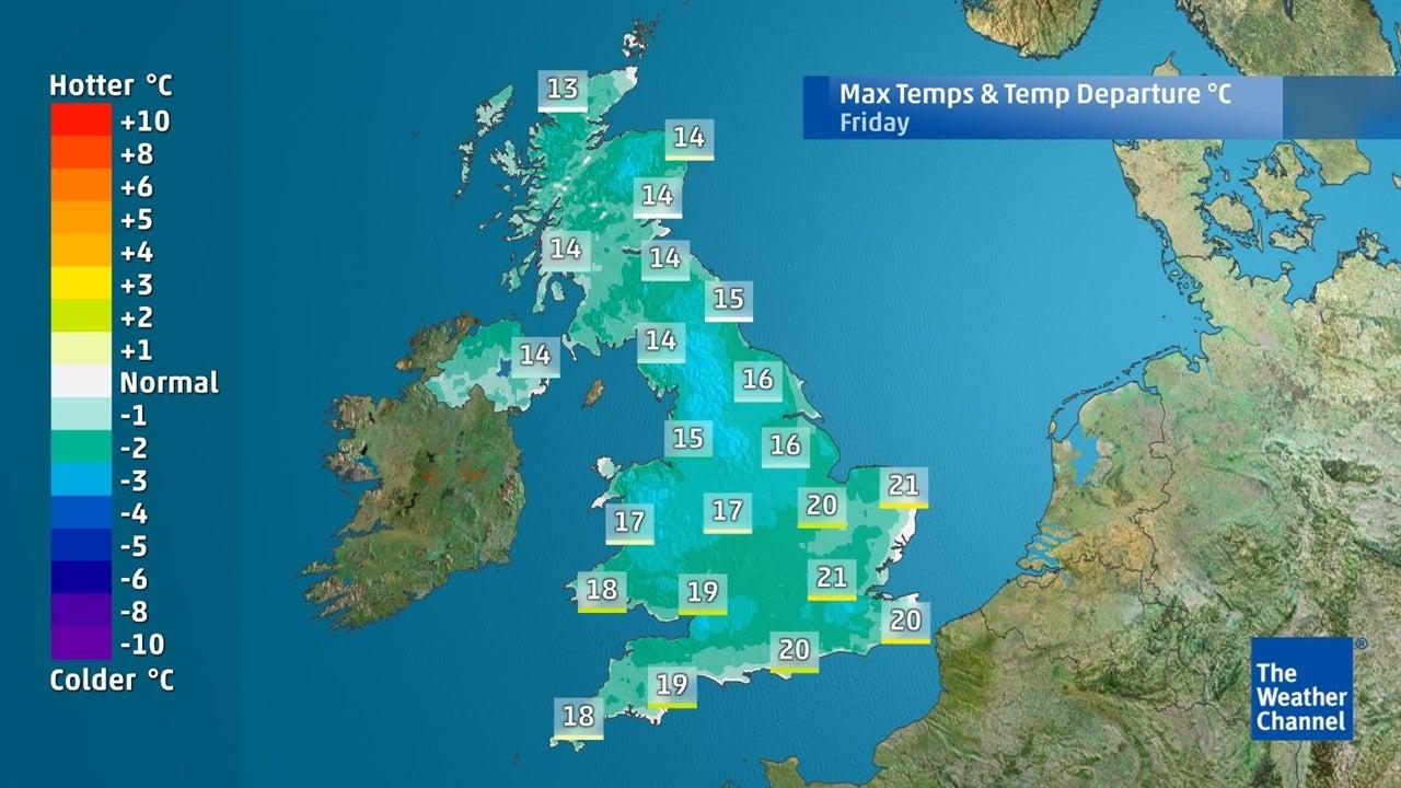 UK weather: Maximum temperatures for coming days