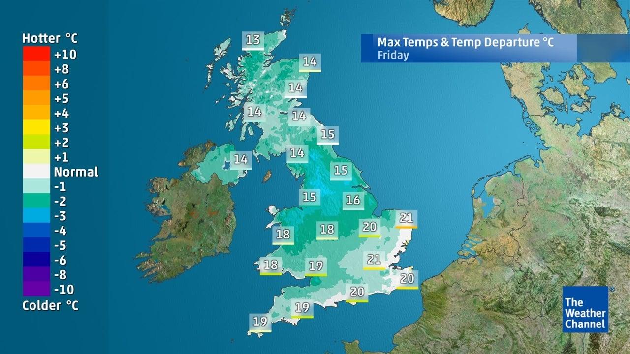 WATCH Predicted maximum temperatures for next few days
