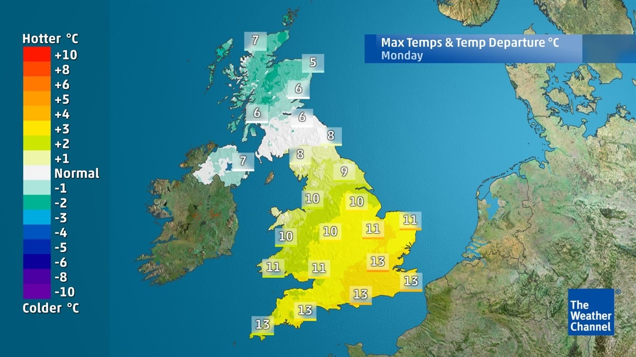 UK weather: Temperatures falling in next few days
