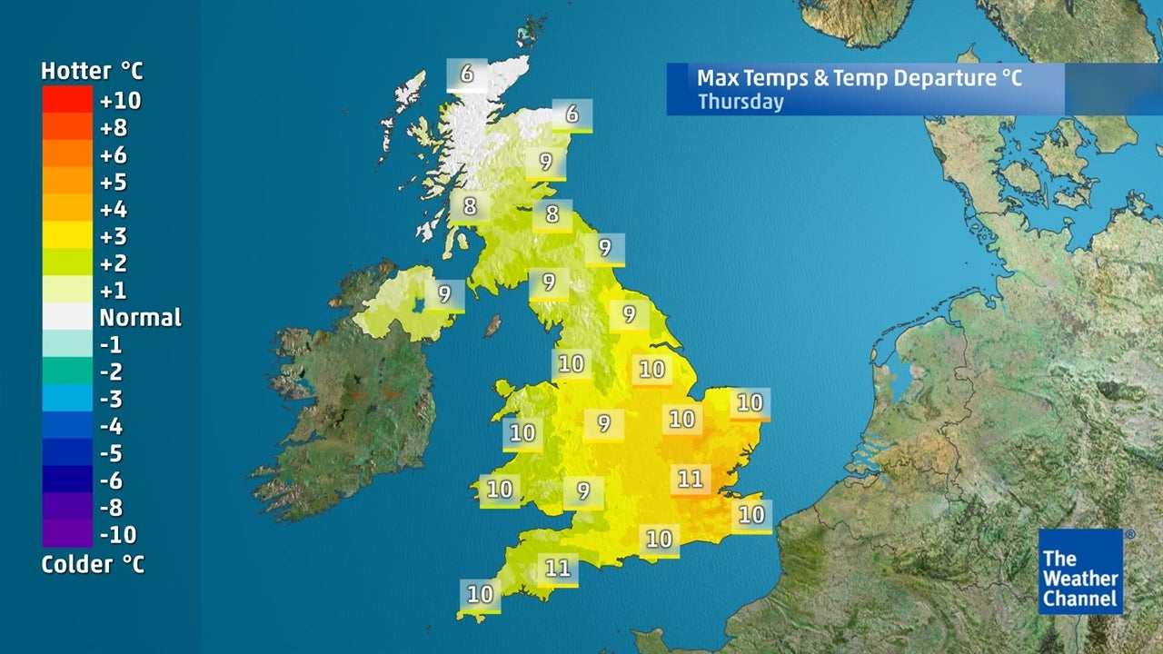 Temperatures staying above-average for next few days