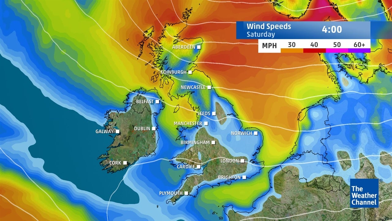 UK weather: Predicted weekend wind speeds