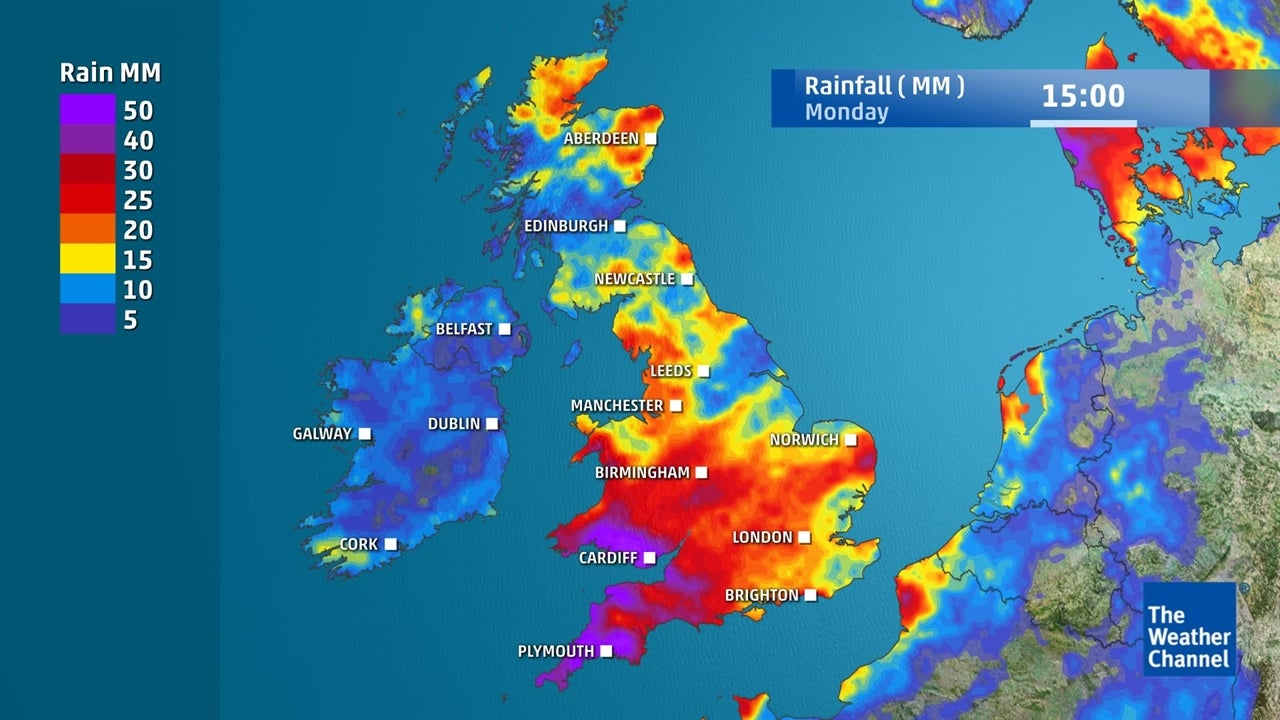 How much rain is going to fall in the UK this weekend?