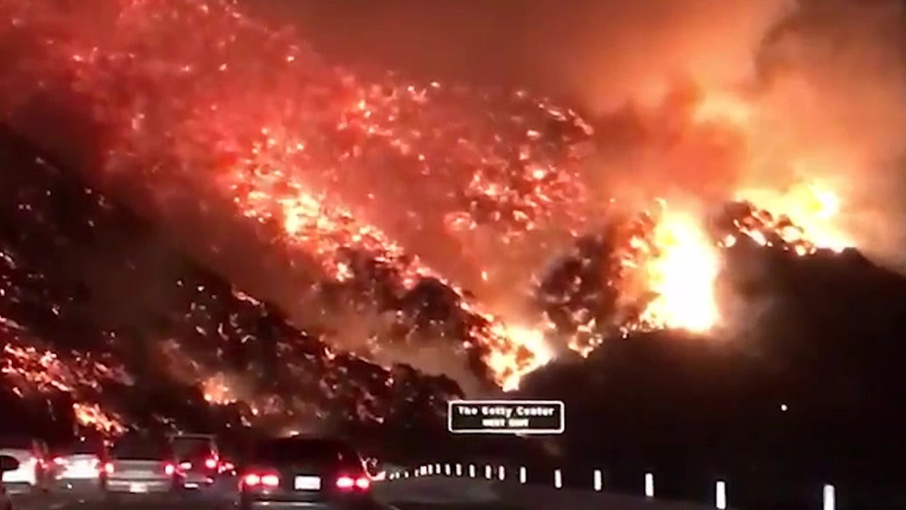 Hills Ablaze Along Los Angeles Highway