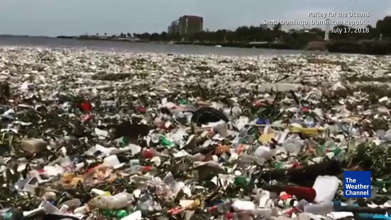 Shocking footage shows waves of rubbish floating in Caribbean Sea