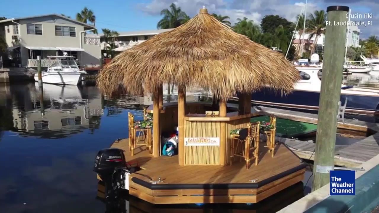 Man Creates Floating Tiki Hut Bar in Florida | The Weather Channel