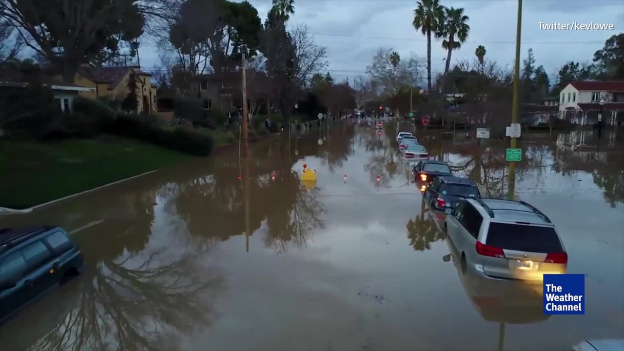 drone shows deep flooding in san jose