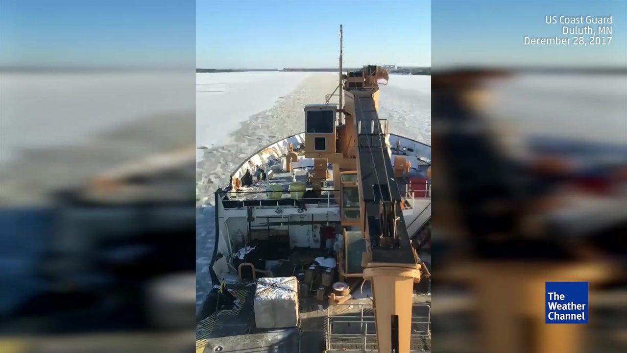 Coast Guard Cutter Breaks Ice on Lake Superior
