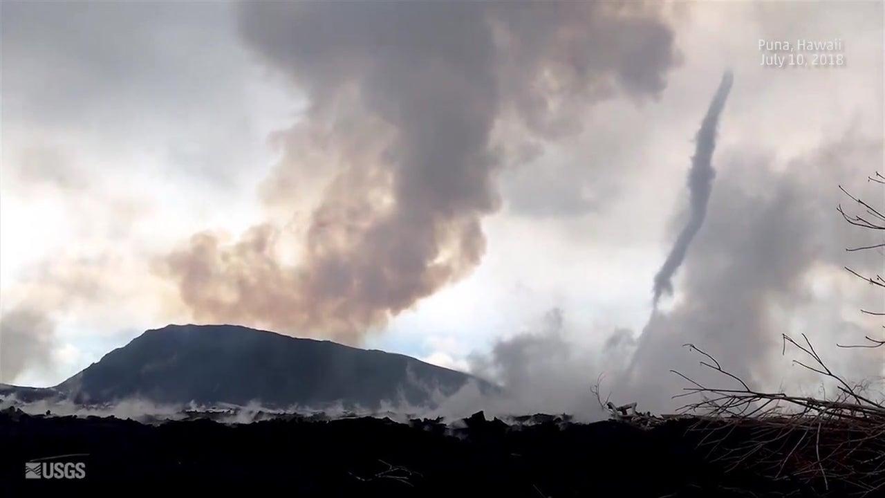 watch whirlwind swirl near hawaii u2019s kilauea volcano
