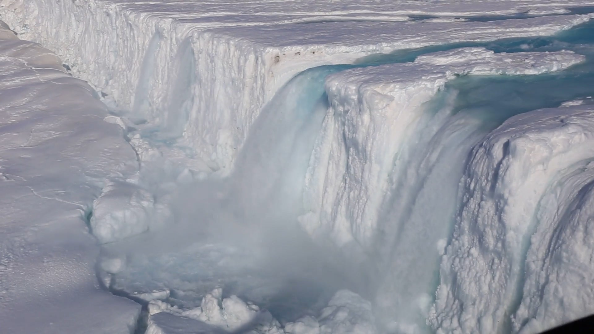 Water Beneath Ice Shelves is Causing Fractures