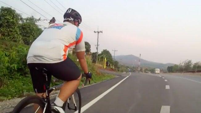 Bird Rides on Cyclist in Thailand