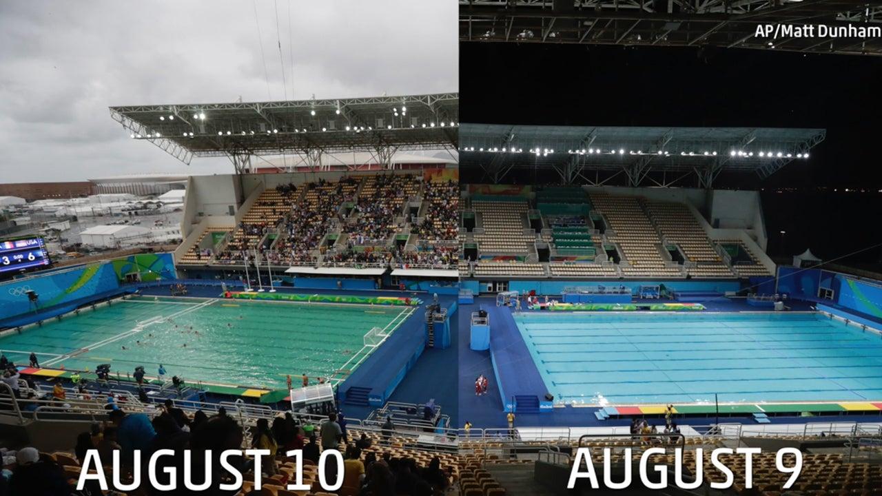 Water Polo Olympic Pool Turns Green in Rio