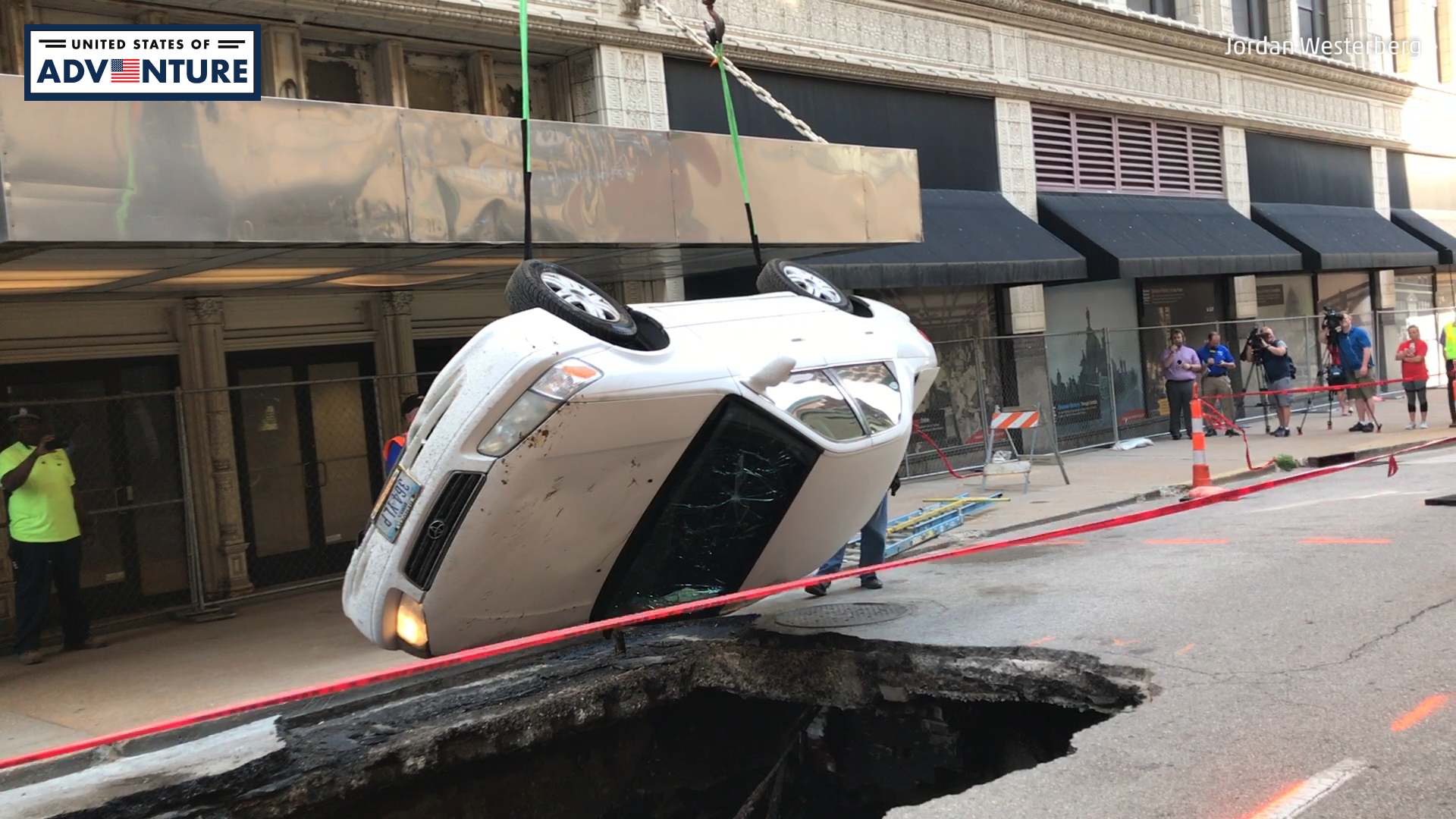 Giant Sinkhole Swallows Car in St. Louis