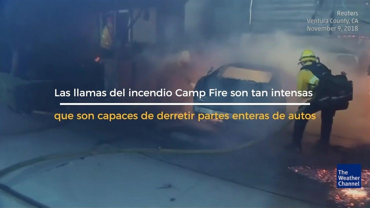 Llamas del Camp Fire derritieron autos
