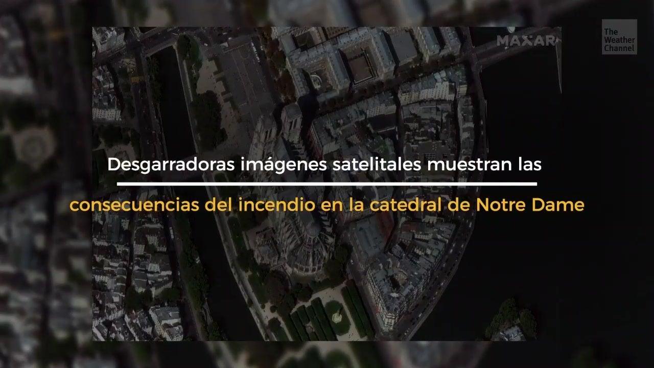 Satélite muestra a Notre Dame tras el incendio