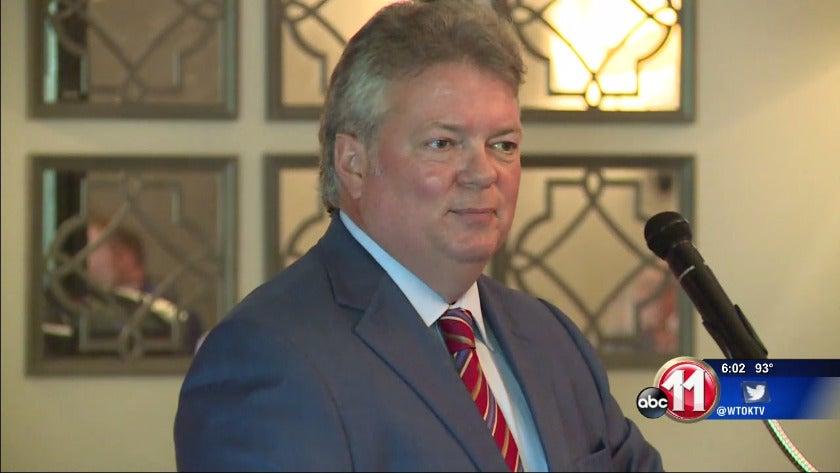 Attorney General Jim Hood speaks to Meridian civic leaders